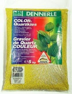 Цветной аквариумный грунт DENNERLE Color-Quarz, гравий фракции 1-2 мм, цвет желтый, 5 кг.