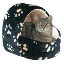 """Trixie Лежак-Пещера для кошки, 45 см, """"Кошачьи лапки"""", черный/ бежевый артикул 36851"""