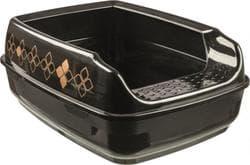 Туалет кошачий с бортиком Delio, 35х 20х 48 см, черный/бронзовый артикул 40392