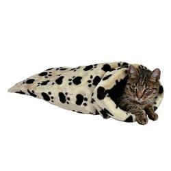 "Trixie Лежак-Тоннель для кошки, плюш, 60 см / d 37 см, ""Кошачьи лапки"" бежевый артикул 42964"