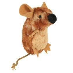 Игрушка Мышь для кошек 8см с пищалкой, плюш, коричневый
