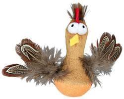 """Игрушка для кошки """"Курица"""" с микрочипом, с перьями, 10см."""