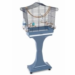 Имак клетка для птиц SOFIA, пепельно-синий, на колесах и подставке, 63х33х61/133см