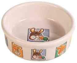 Миска для кролика 300 мл/ф 11,5 см, керамика с рисунком