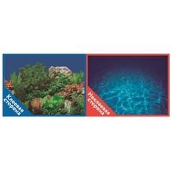 Фон двухсторонний с одной самоклеящейся стороной Синее море/Растительный пейзаж 50x100см 9063/9071