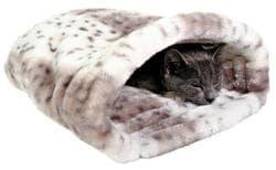 """Trixie Лежак-Тоннель для кошки """"Leila"""" 46х33х27 см, плюш, бежевый/белый артикул 3695"""